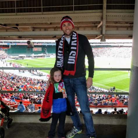 Tim and Annabelle at a DC United game, April 2017